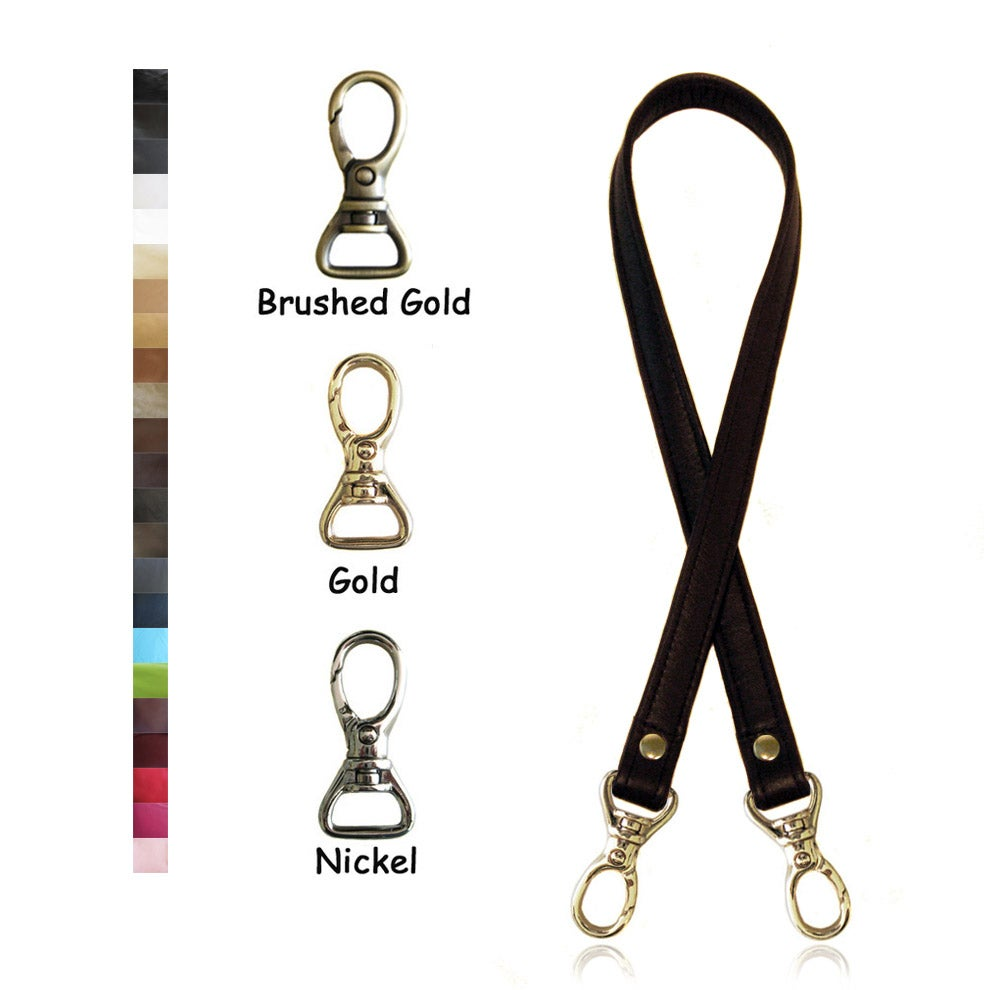 "Image of Leather Shoulder Bag/Purse Strap - Choose Color & Finish - 30"" Length, 3/4"" Wide, #13 Snap Hooks"