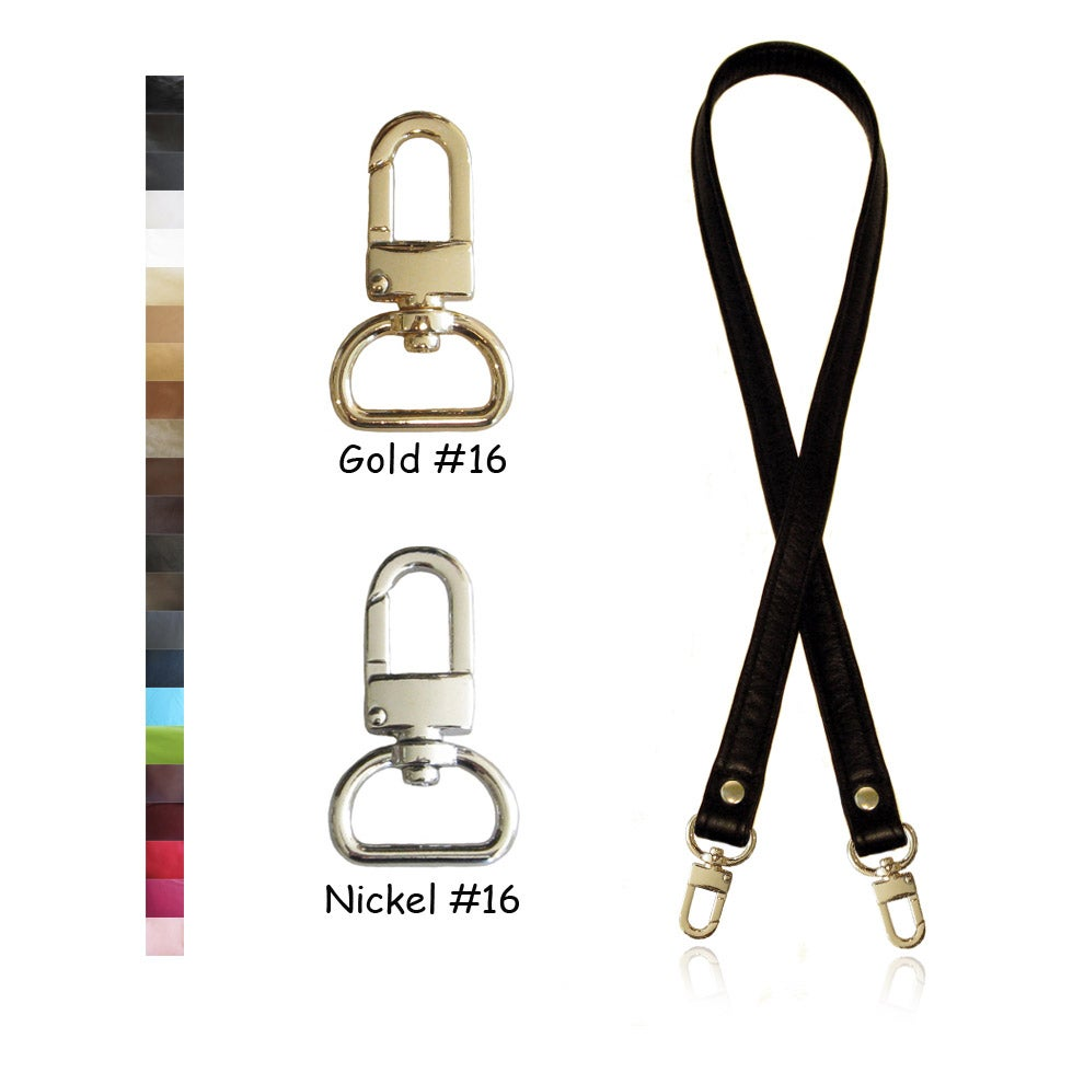 "Image of 40"" (inch) Leather Strap - .75"" (inch) Wide - GOLD or NICKEL #16 Hooks - Choose Color & Hardware"
