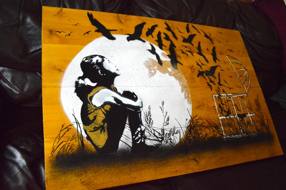 """Image of """"Released"""" - Hand Made Wooden Panel"""