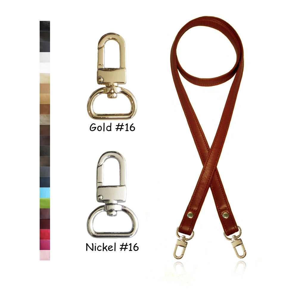 """Image of 50"""" (inch) Long Leather Strap - .75"""" Wide - GOLD or NICKEL #16 Hooks - Choose Color & Hardware"""