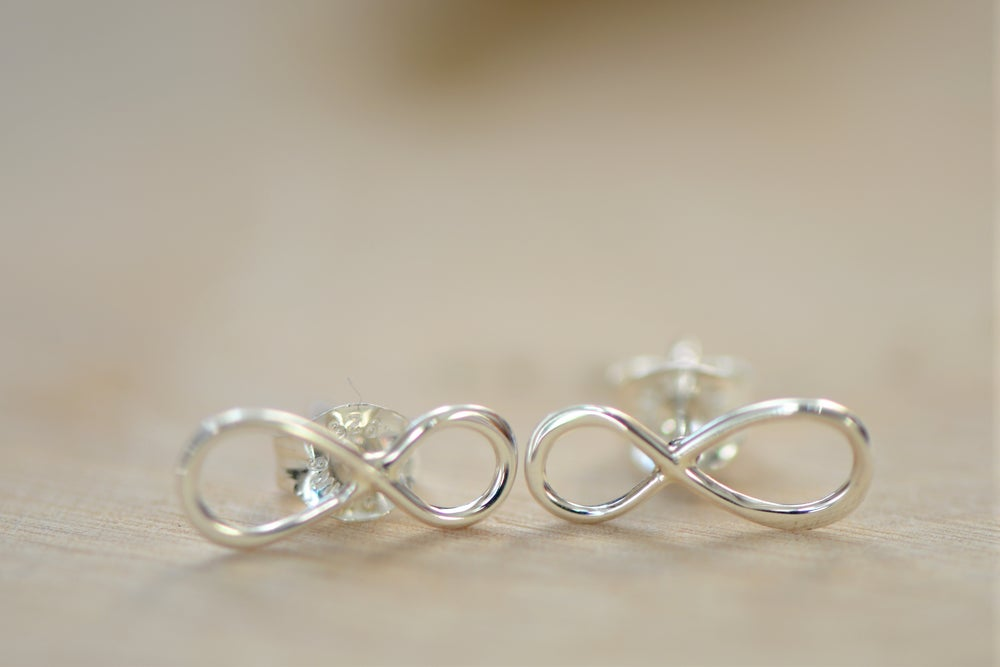 Image of Tiny Rose Sterling Silver Infinity Earrings