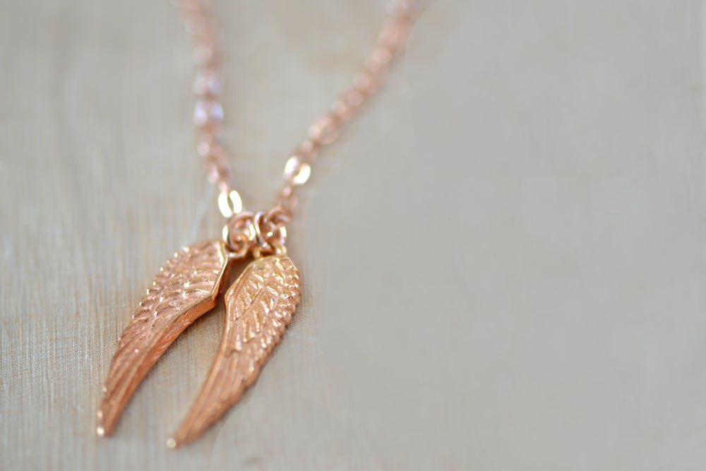 Image of Rose Gold Angel Wings Necklace