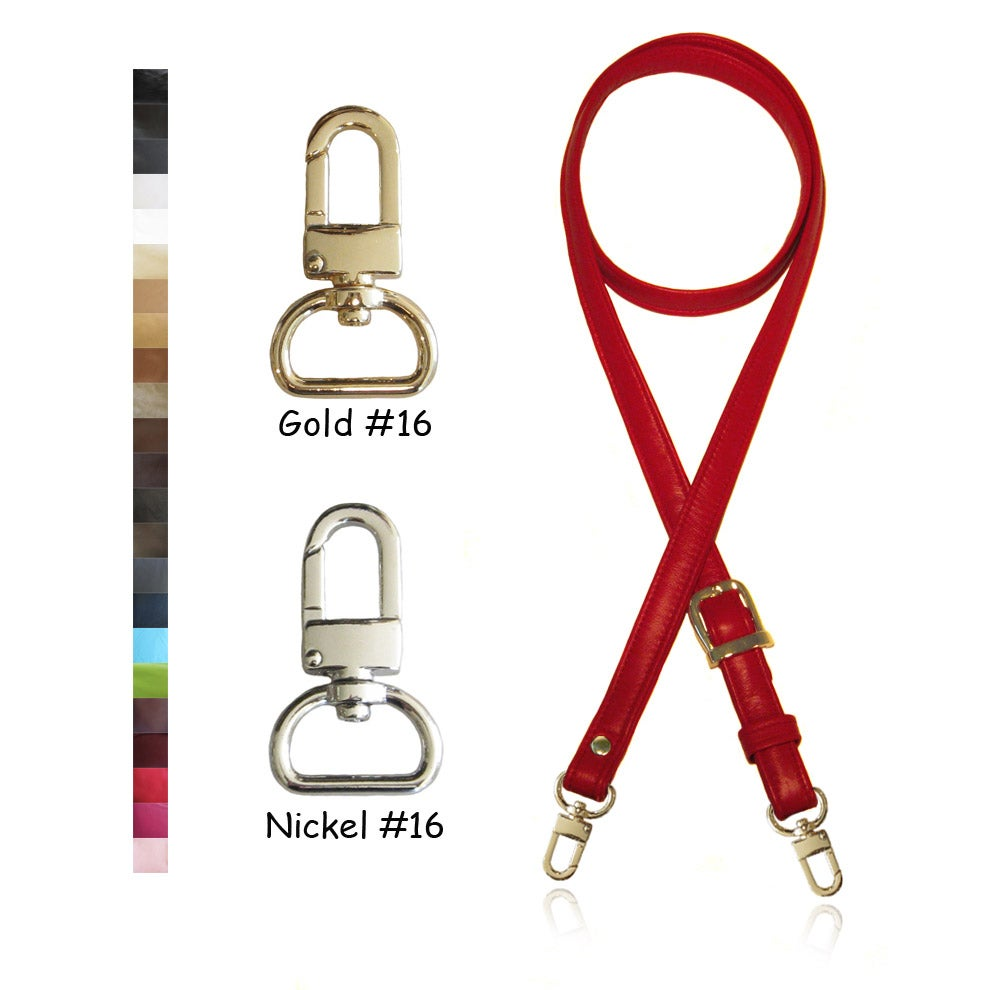 "Image of Extra Long 65"" Adjustable Leather Strap - 3/4 inch Wide - Your Choice of Color & Hardware #16"
