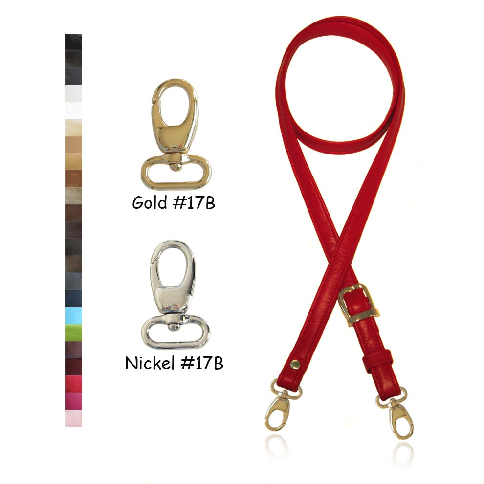 "Image of Extra Long 65"" Adjustable Leather Strap - 3/4 inch Wide - Your Choice of Color & Hardware #17B"