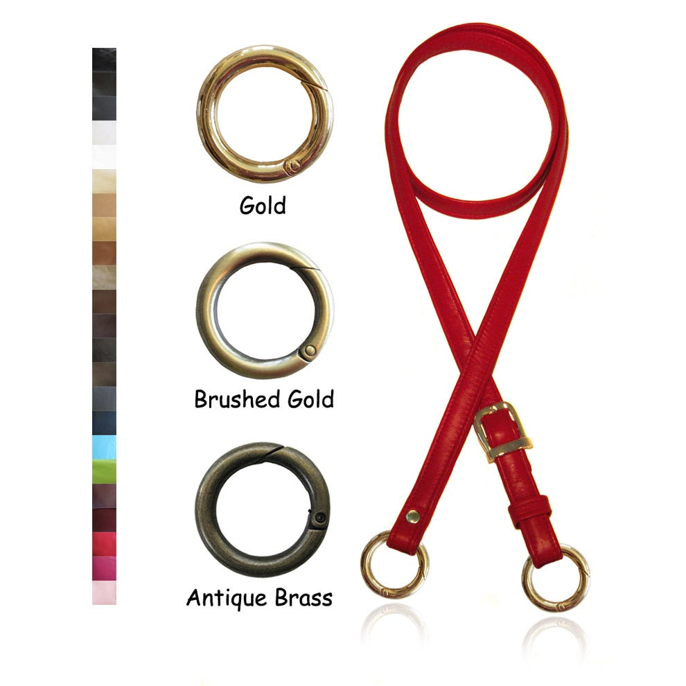"Image of 55"" (inch) Adjustable Leather Strap - .75"" Wide - GOLD Tone Hardware - Choose Color & Small O-Rings"