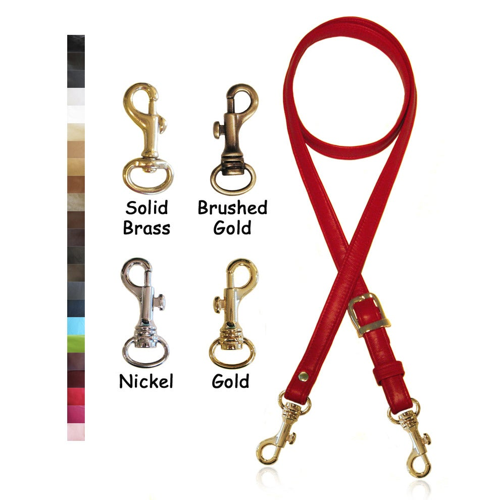 "Image of 55"" (inch) Adjustable Leather Strap - .75"" Wide - Your Choice of Leather Color & Hook #19"
