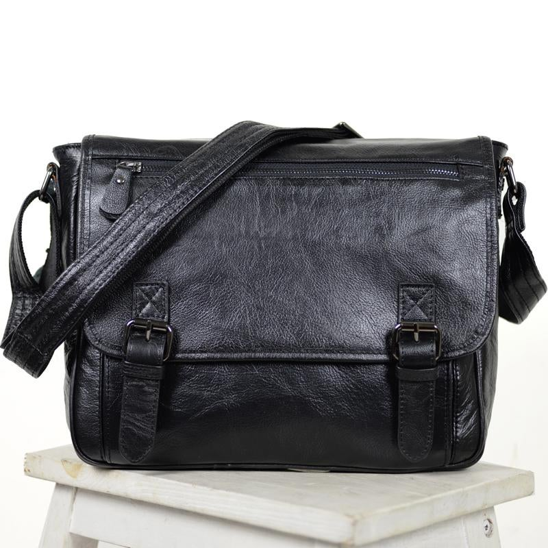 "Image of Handmade Leather Messenger Bag / Satchel / 11"" MacBook Air Bag in Black (n84-3)"