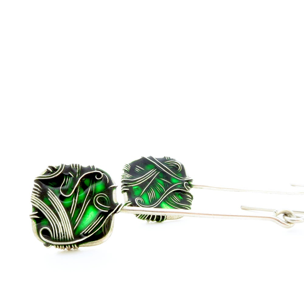 Image of Emerald Green Squares Earrings