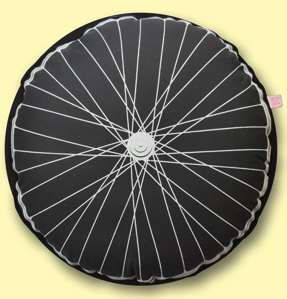 Image of Bike Wheel Cushion - Charcoal and Yellow