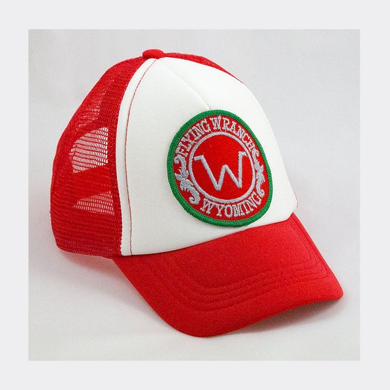Image of Wyoming 80's patch on red toddler trucker Free UK P&P
