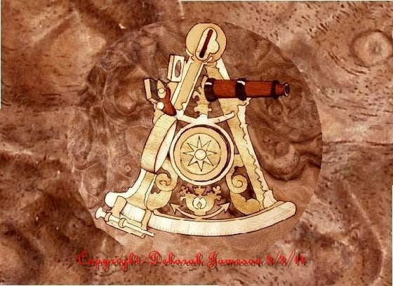 Image of Item No. 137.**HAND CUT**  Nautical Instrument Marquetry.