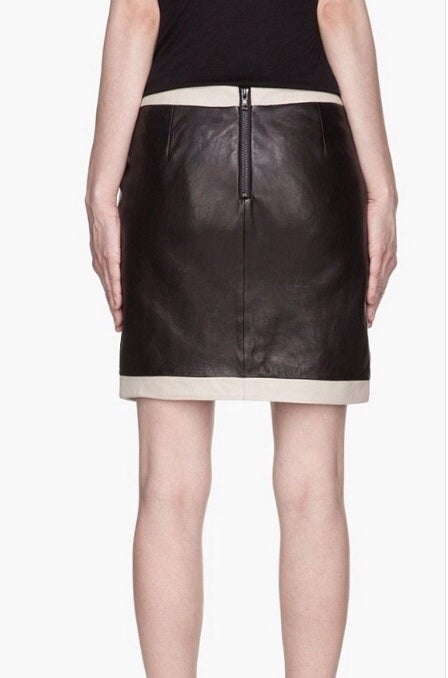 Image of Contrast Leather Skirt
