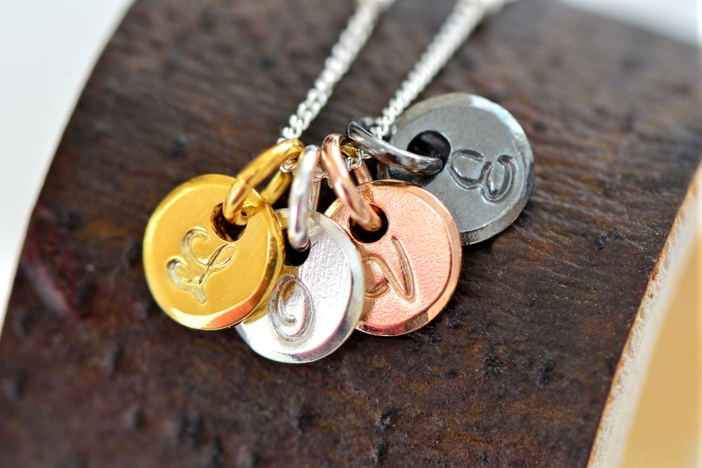 Image of FOUR Initial Necklace, Gold, Rose Gold, Silver & Black Silver Initial Necklace