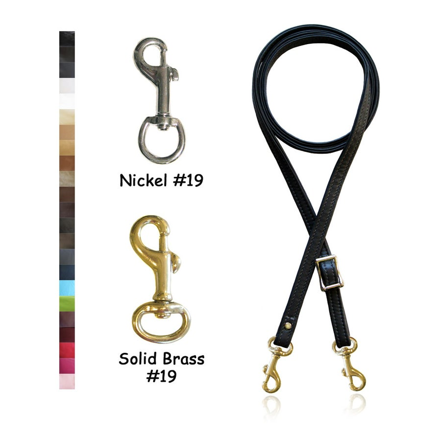 """Image of Adjustable Crossbody Bag Strap - Choose Leather Color - 55"""" Maximum Length, 1/2"""" Wide, #19 Clips"""