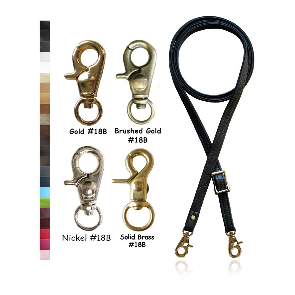 "Image of Extra Long 65"" Adjustable Leather Strap - 1/2 inch Wide - Your Choice of Color & Hardware #18B"