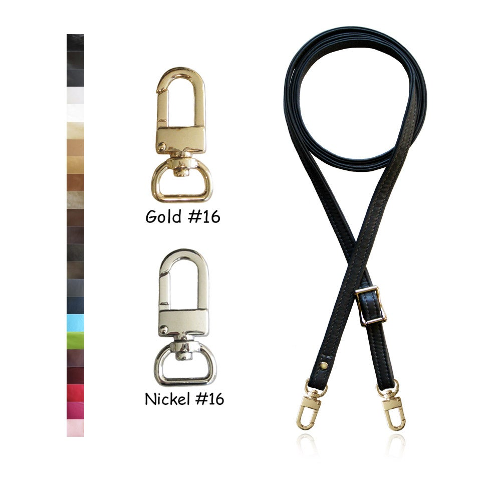 "Image of Extra Long 65"" Adjustable Leather Strap - 1/2 inch Wide - Your Choice of Color & Hardware #16"