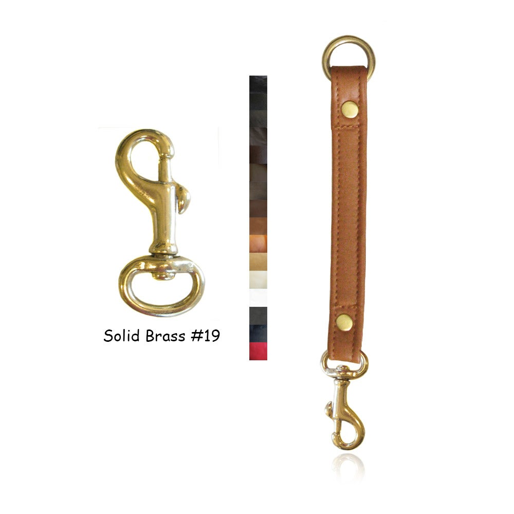 "Image of Leather Strap Extender - 3/4"" Wide - Solid Brass #19 Hook - Choice of Leather Color & Length"