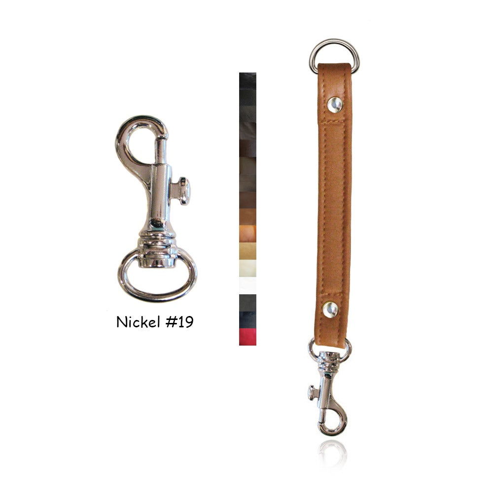 "Image of Leather Strap Extender - 3/4"" Wide - Nickel #19 Attachable Hook - Choice of Leather Color & Length"
