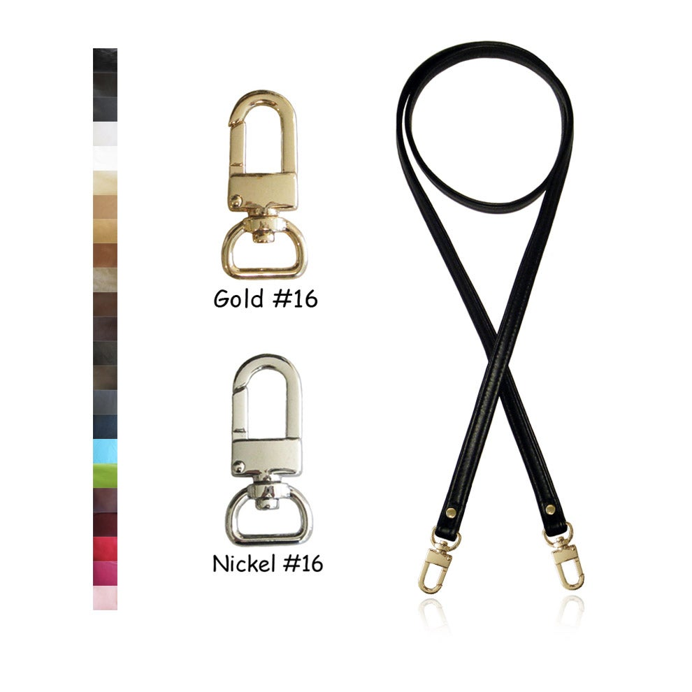 "Image of 50"" (inch) Cross Body Leather Strap - .5"" Wide - GOLD or NICKEL #16 Hooks - Choose Color & Finish"