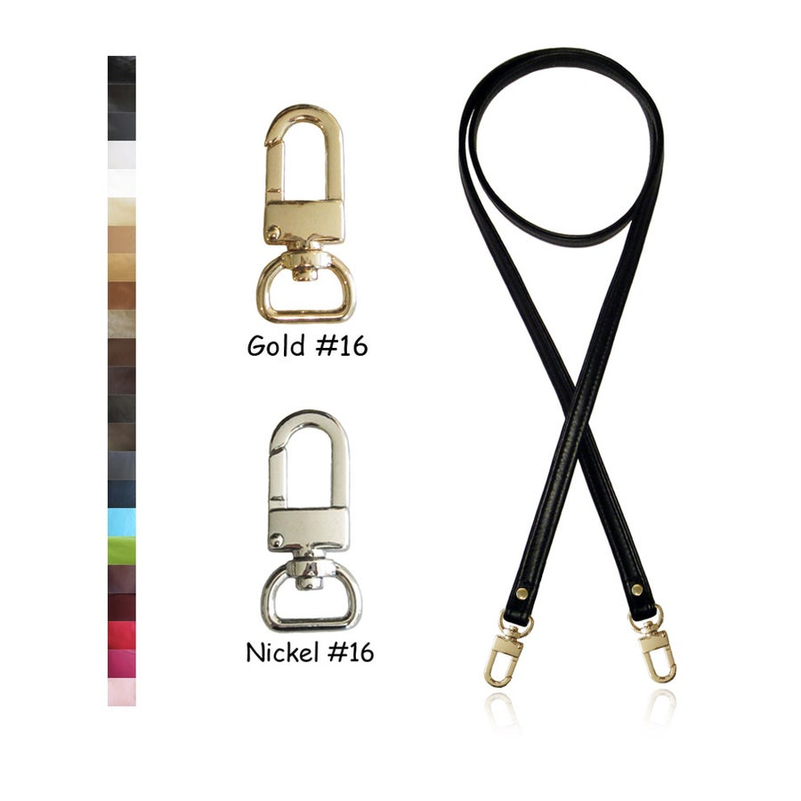 "Image of Crossbody / Messenger Bag Strap - Choose Leather Color - 50"" Length, 1/2"" Wide, #16 U-shape Hooks"