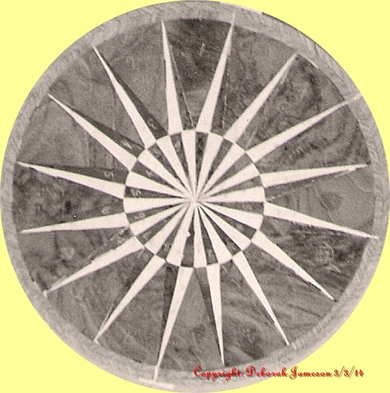 Image of Item No. 154. Marquetry Inlay Veneer Full Sunburst Star Compass.
