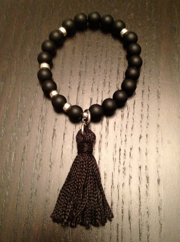 Image of Infinity Wrist Mala with Onyx & Tassel