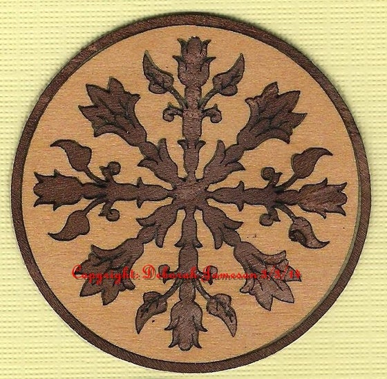 "Image of Item No. 87 A or B.  Circular Seaweed Marquetry Motif from 2"" up"