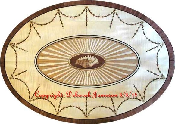 Image of Item No. 327.   Oval Marquetry Table top.
