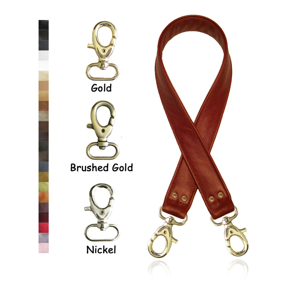 """Image of 30"""" (inch) Leather Shoulder Strap - 1.5"""" Wide - Your Choice of Leather Color & Hook #1"""