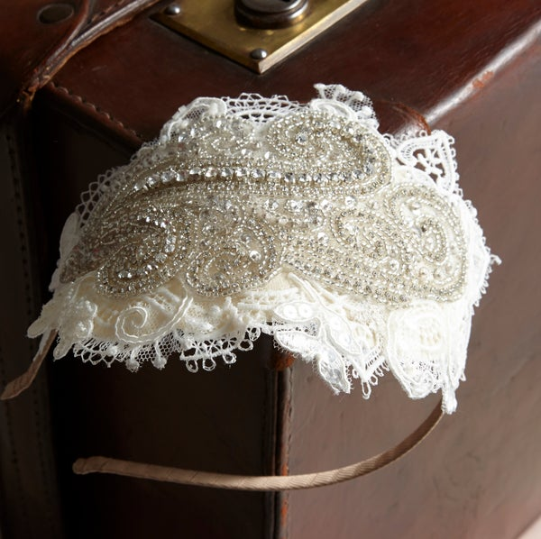 Rosa - Lace and Bead Bridal Headpiece - Laura Pettifar Designs