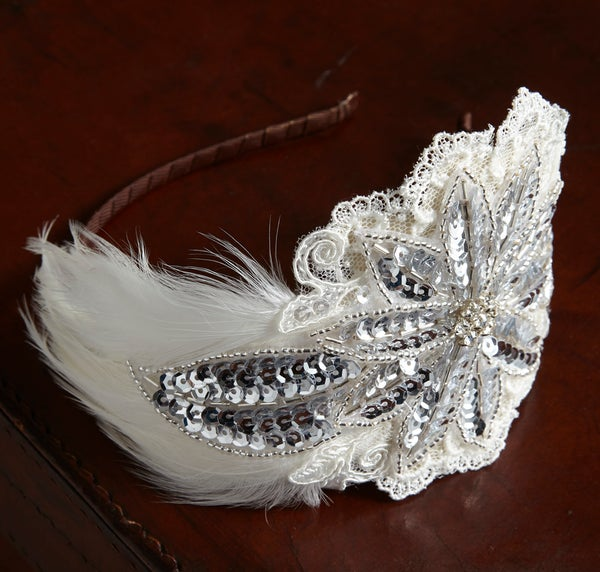 Florence - Feather, Lace and Sequin Bridal Headpiece - Laura Pettifar Designs