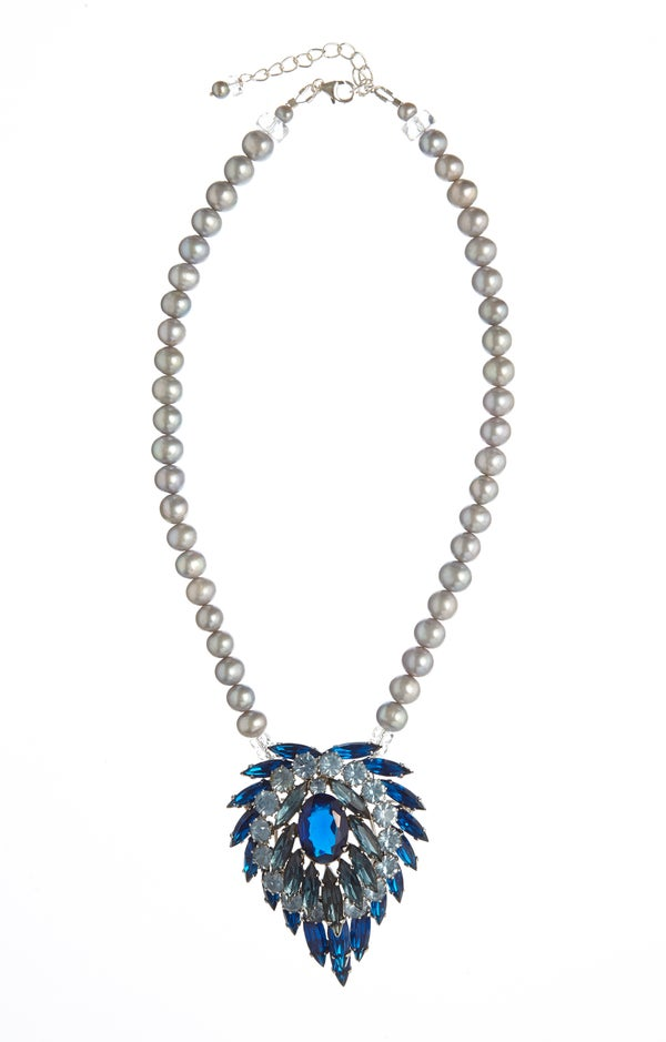 Lola Vintage Blue Crystal Necklace with Pearls - Laura Pettifar Designs