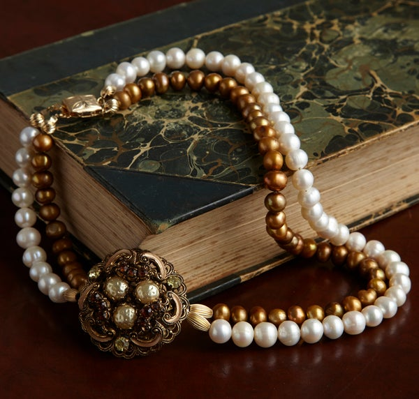 Francesca Vintage Necklace with Fresh Water Pearls - Laura Pettifar Designs