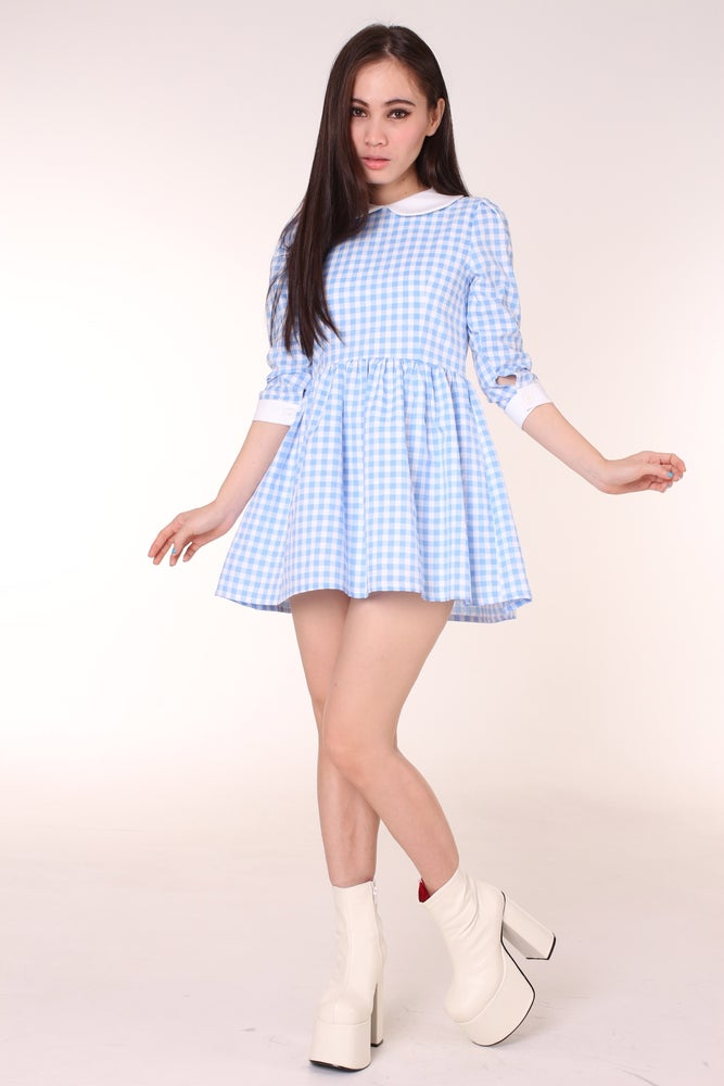 Made To Order Caroline Baby Doll Dress In Blue Gingham