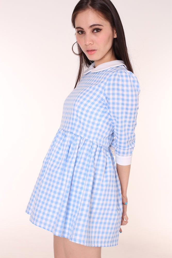 5570083322f8 Made To Order - Caroline Baby Doll Dress in Blue Gingham