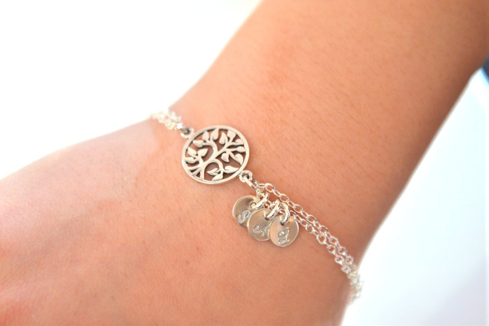Image of Personalized Tree of Life Bracelet / Family Initial Bracelet / Mother's Bracelet