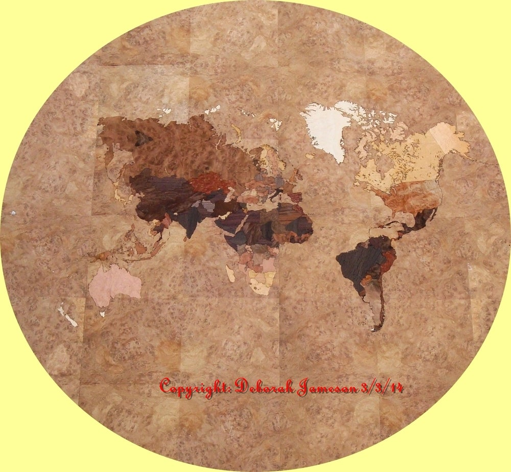 Image of Item No. 47.  Marquetry Inlaid World Map Item
