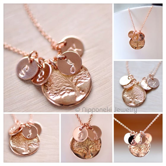 Image of Rose Gold Vermeil Family Tree Charm & Personalized Necklace