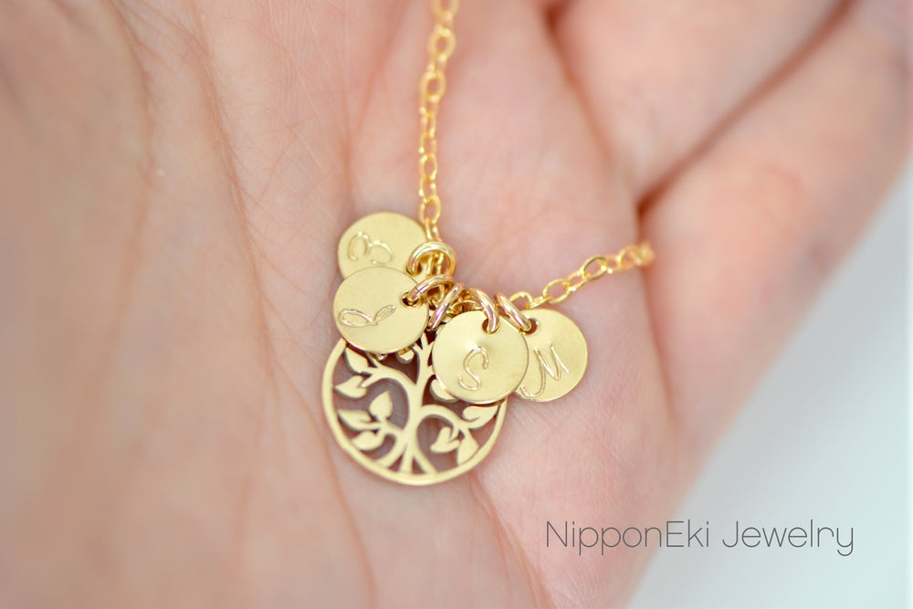 Image of Mother's Necklace - Dainty Gold Initial Charm - 14k Gold Filled Family Tree Charm