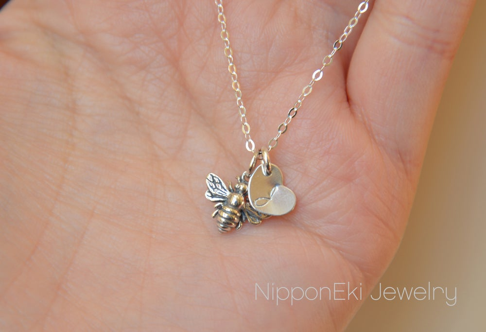 Image of Tiny Bee Necklace, Initial Charm Necklace, Personalized Honey Bee Necklace