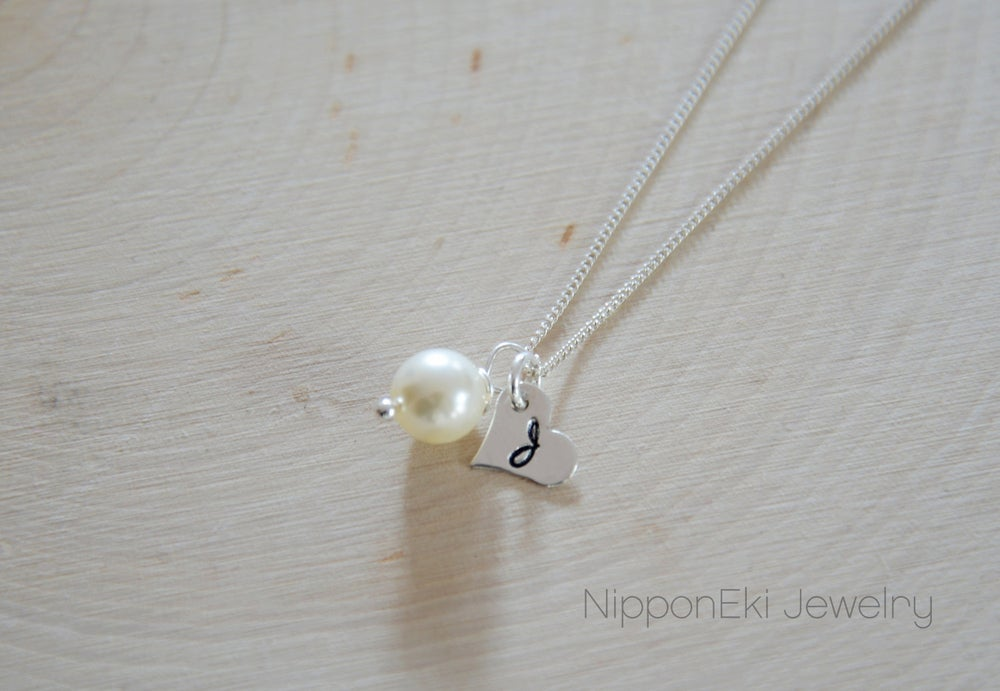 Image of Dainty Swarovski Pearl , Heart Initial Sterling Silver Necklace