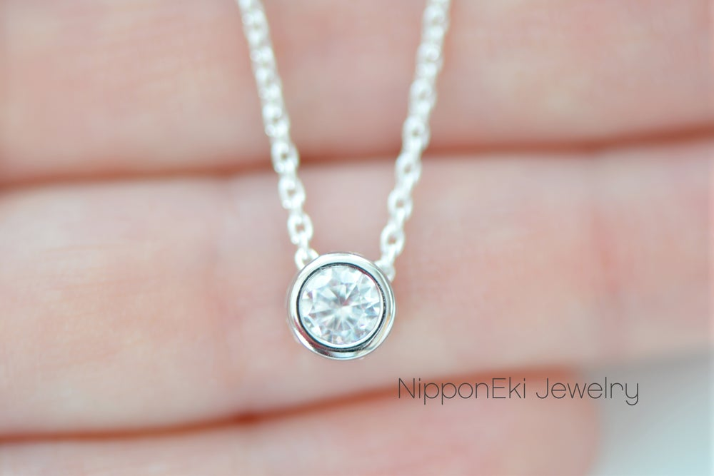 Image of Silver Cubic Zirconia Solitaire Necklace