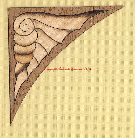 Image of Item No. 208.  Marquetry Inlay Veneer Corner Shell Design.