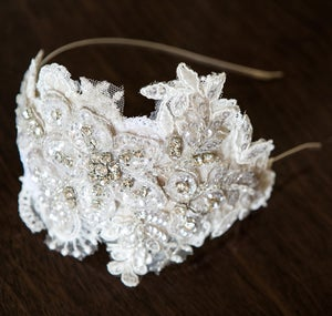 Clarisse Lace & Diamante Bridal Headpiece - Laura Pettifar Designs