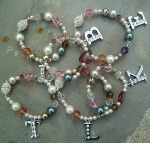 Tabitha Crystal and Pearl Personalised Initial Bracelet - Laura Pettifar Designs