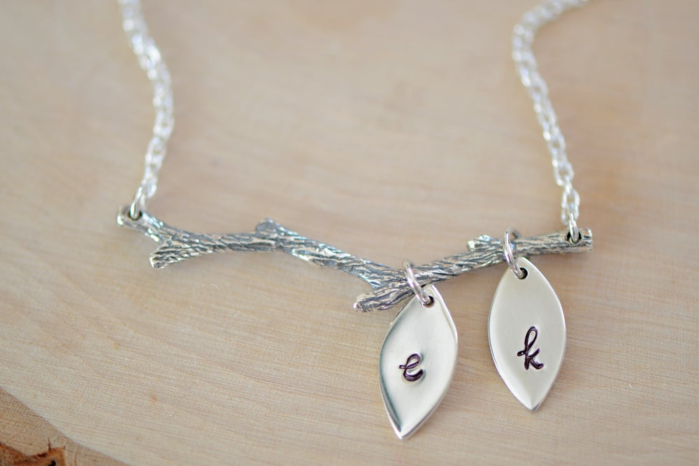 Image of Tree Branch Necklace , Initial Leaf Necklace