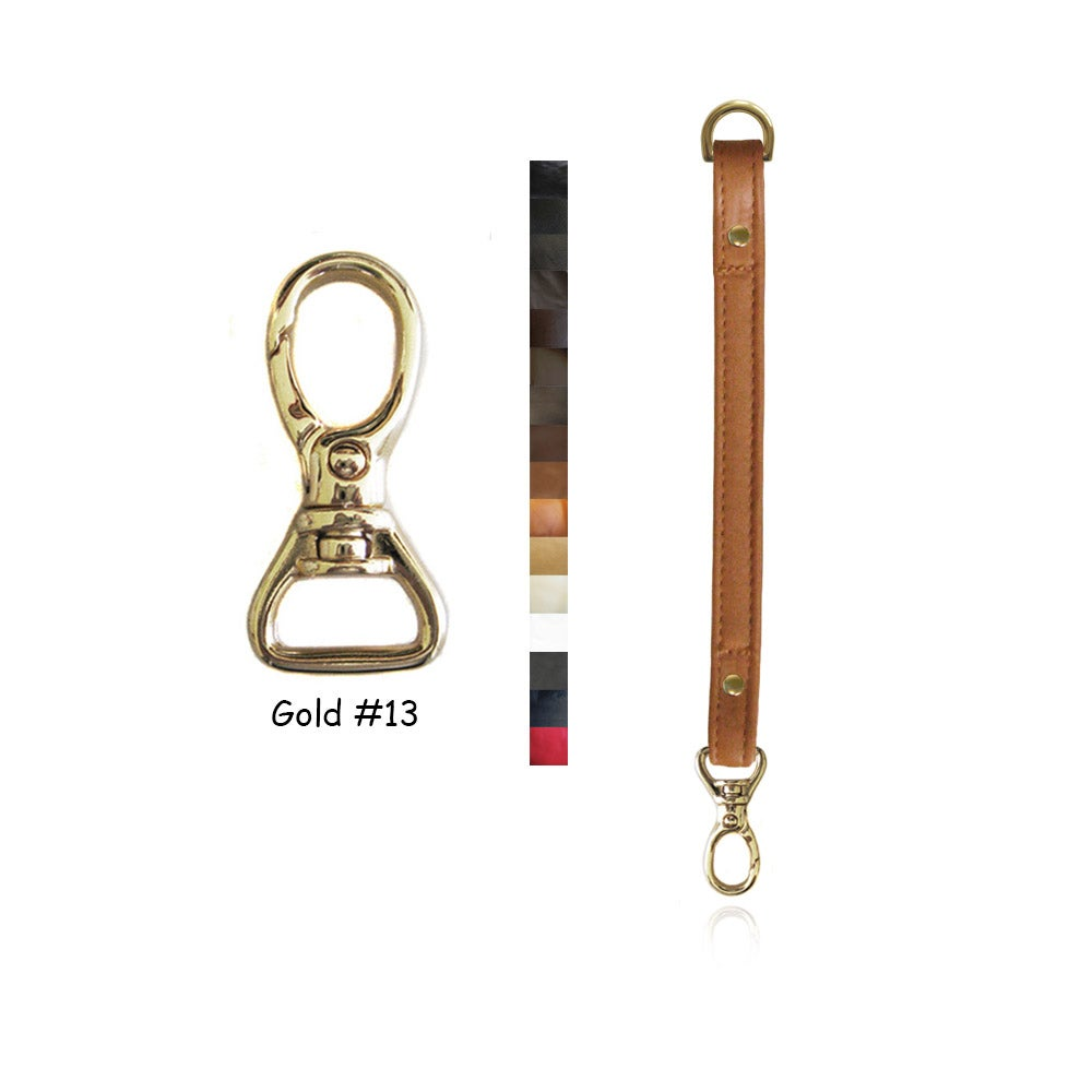 """Image of Leather Purse Strap Extender - .5"""" (inch) Wide - Gold #13 Swivel Hook - Choice of Color & Length"""