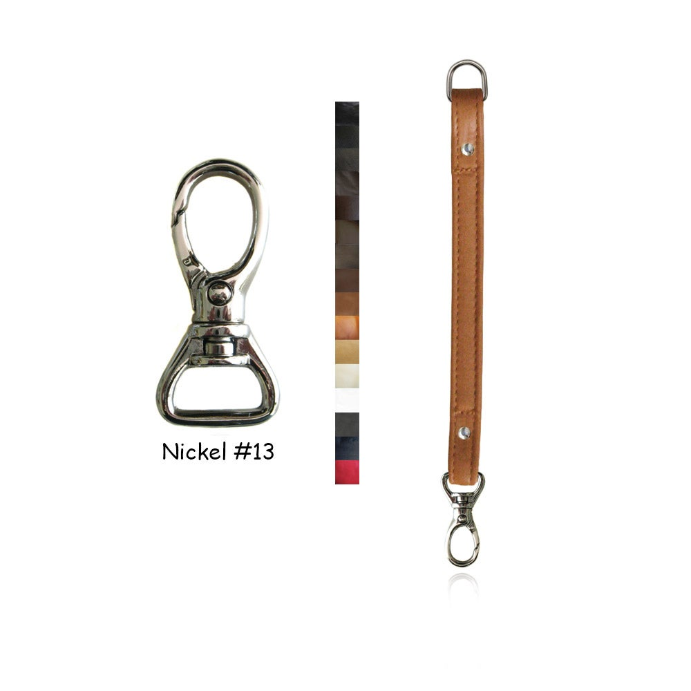"""Image of Leather Purse Strap Extender - .5"""" (inch) Wide - Nickel #13 Swivel Hook - Choice of Color & Length"""