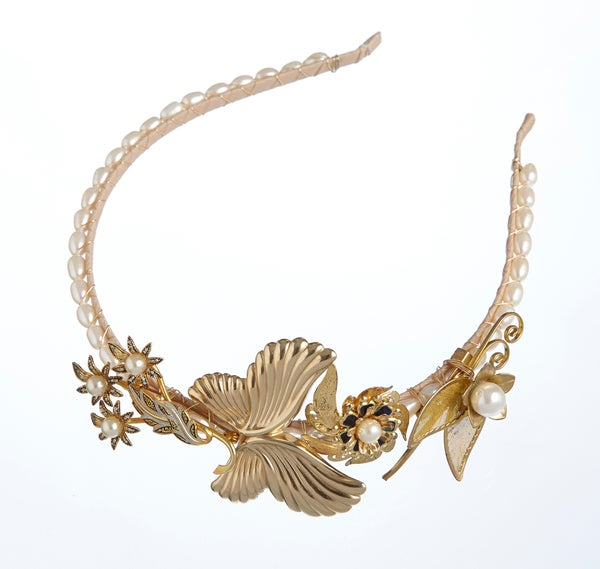 Esme Vintage Goldtone Headpiece - Laura Pettifar Designs