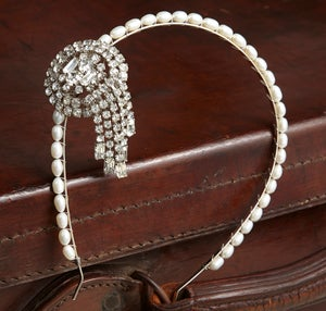 Dolores Vintage Diamante and Pearl Headpiece - Laura Pettifar Designs